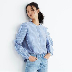 Madewell Blue Stripe Frill Sleeve Shirt large